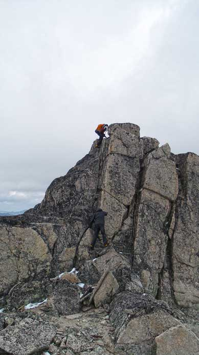 Climbing back up the false summit