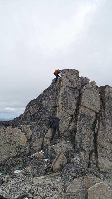 Climbing back up the false summit