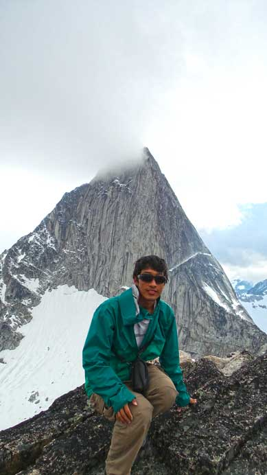Me on the summit with Bugaboo Spire behind