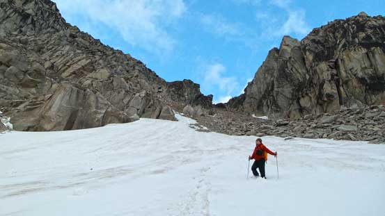 Ben plunging down the snow slope on the lower half of this gully