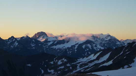 Taurus Mountain and other peaks in the Purcells on alpenglow