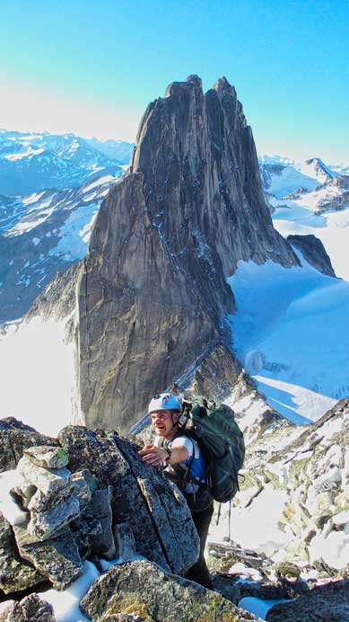 Ben scrambling, with Snowpatch Spire behind