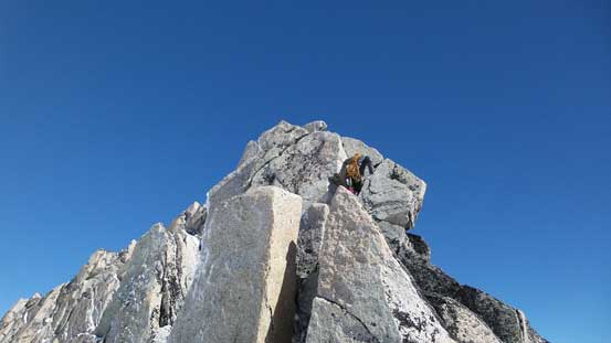 Tony ascending the 4th class ridge section