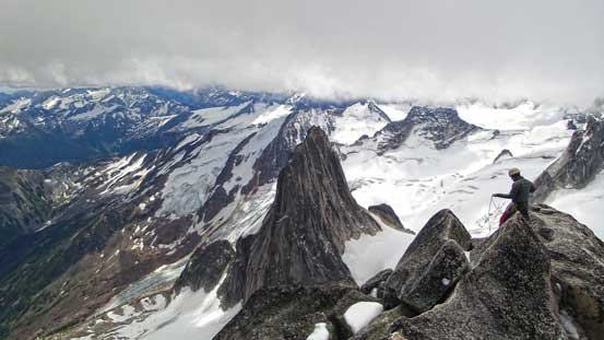 A view from the summit. Snowpatch Spire looks small.
