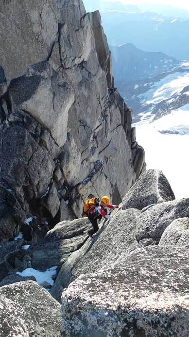 Ferenc leading the way down from second summit