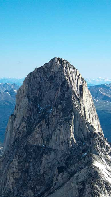 A zoomed-in view of Bugaboo Spire and the upper portion of Kane's Route