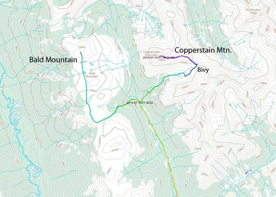 Bald Mountain and Copperstain Mountain ascent route