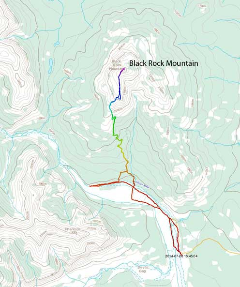 Black Rock Mountain scramble route