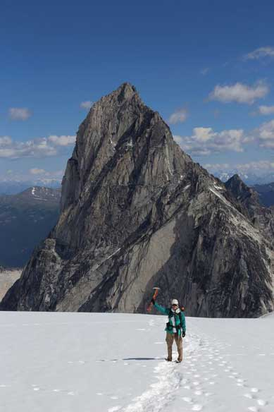 Me on Vowell Glacier, with Bugaboo Spire behind. Photo by Ben.