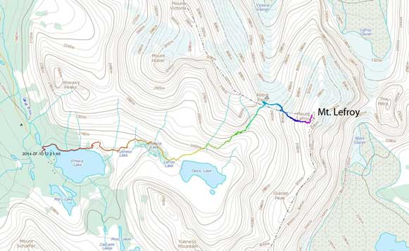 Ascent route for Mt. Lefroy via West Face