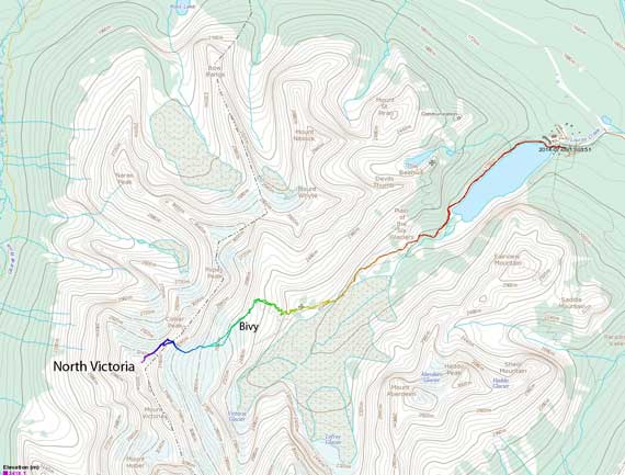 North Victoria ascent route via Victoria Glacier