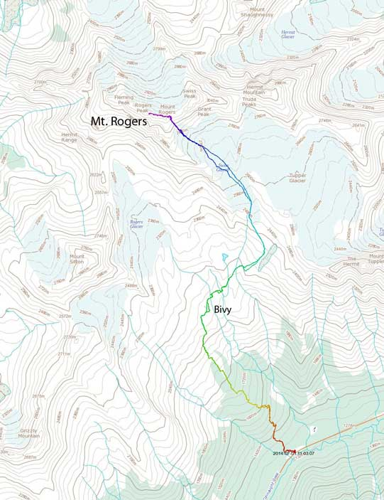 Mt. Rogers ascent route