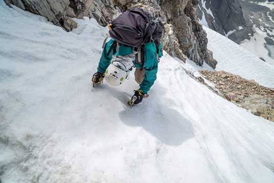 Me down-climbing the couloir. Photo by Vern
