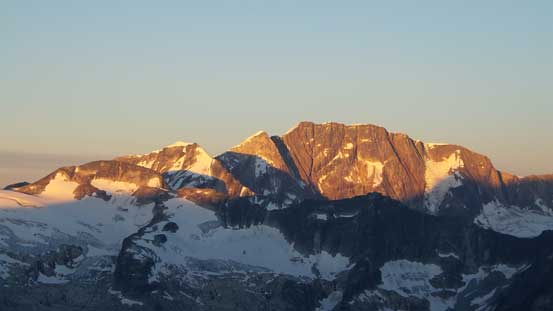 And, glow on the NE Face of Mt. Bonny. Mt. Swanzy is the bump on its left shoulder.