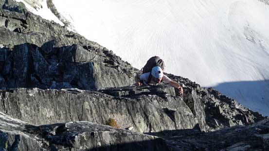 Ben climbing up a challenging step