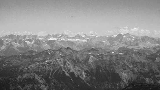 Peaks on the Freshfield Icefield dominate the skyline.