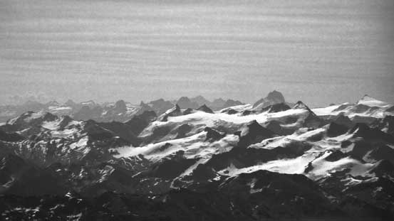 That big mountain sticking out is the iconic Howser Towers in the Bugaboos!