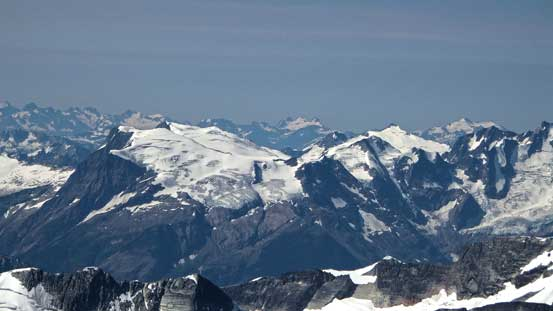 Hope Peak and Charity Peak and some icefields in the southern Selkirks