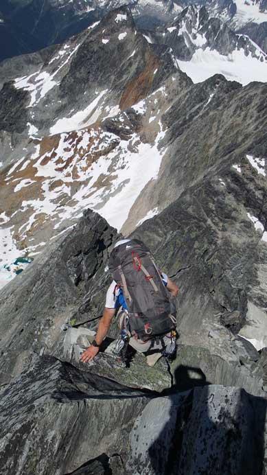Starting to down-climb the NW Ridge