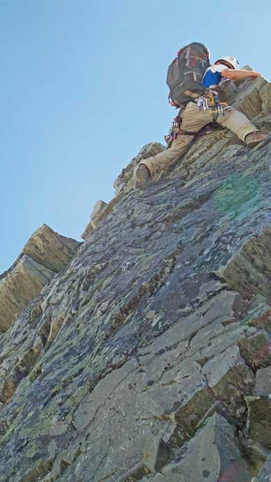 A closer look at Ben down-climbing