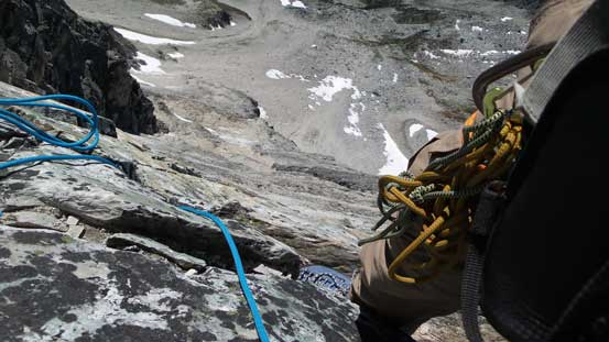 Looking down the rappel route from station #5