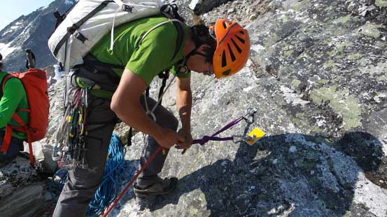Preparing for the last two rappel - we decided to combine them into one