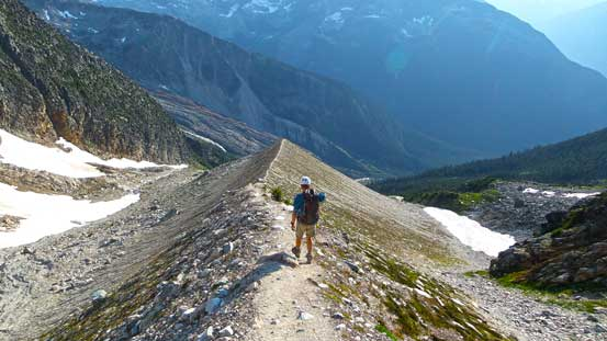 Hiking down a long moraine crest