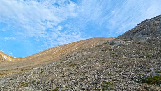 The very foreshortened view of the long slog to false summit