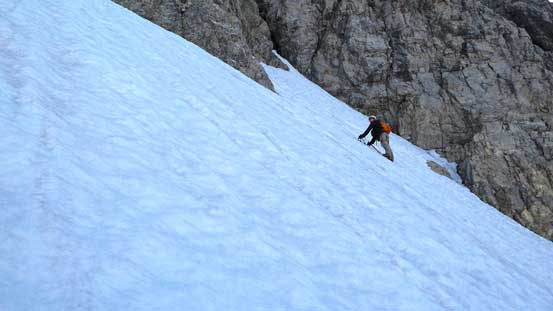 Ben's route would avoid the 'schrund, but has more side-hill traverse