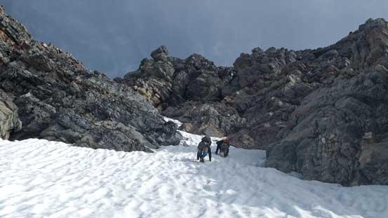 Eric and Ben down-climbing