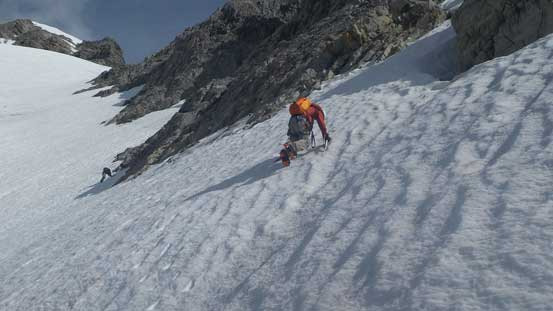 Ben traversing the steep snow