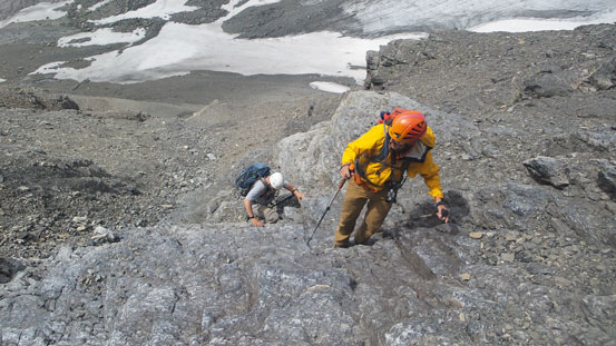Vern and Eric ascending the typical terrain in the lower gully