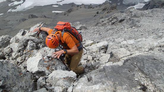 Vern down-climbing