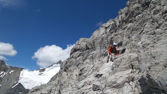 Ben descending the summit block