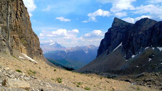Through the gap of these two rock walls we could see Mt. Joffre