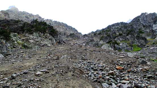 Looking up the steep gully
