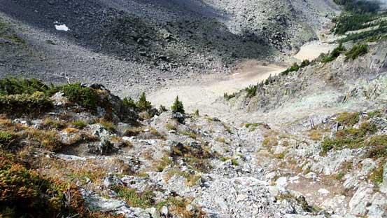 Descending the gully