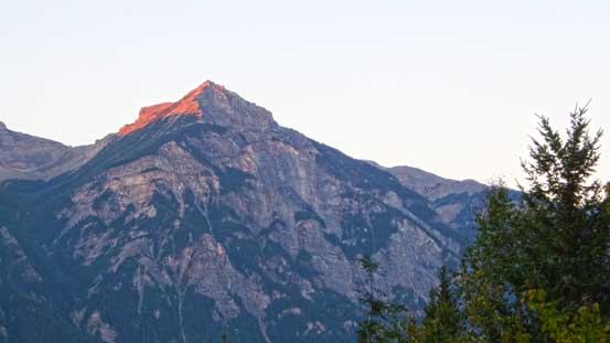 Alpenglow on Klapperhorn Mountain across Highway 16