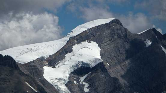 You can see the crevasses on Resplendent Mountain in this photo