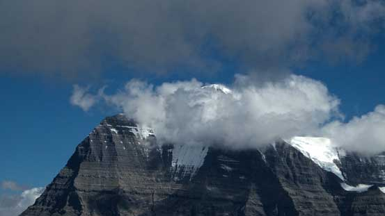 Clouds covering Mt. Robson