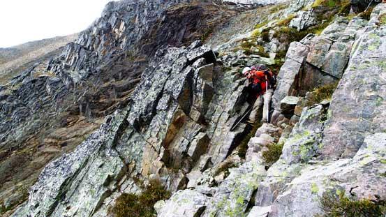 Ben descending typical terrain