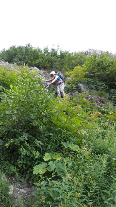 Ben picking a line down the wet bush