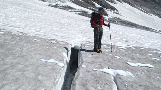 Doug in Haig Icefield with a crevasse