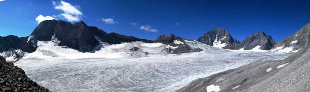 Panorama of Haig Icefield at the base of Jellicoe