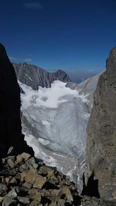 Smith-Dorrien Glacier seen from a gap on the summit ridge