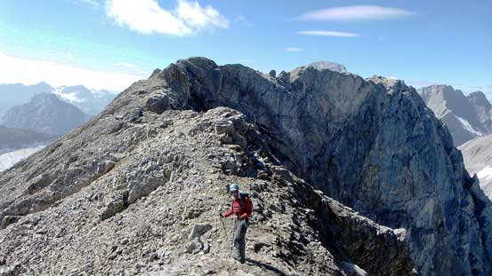 Doug ascending towards the false summit
