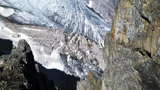 The heavily crevassed Smith-Dorrien Glacier