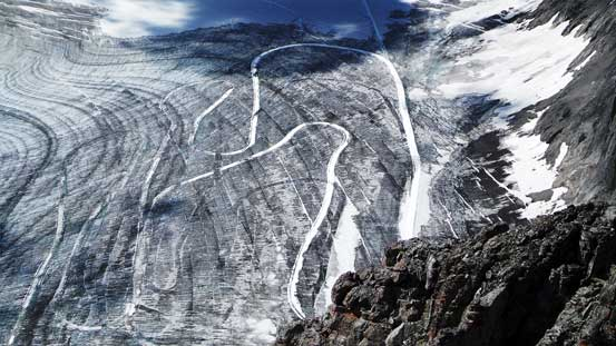 The x-country ski tracks on Haig Icefield