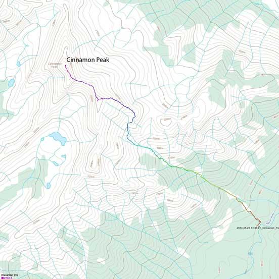 Cinnamon Peak scramble route