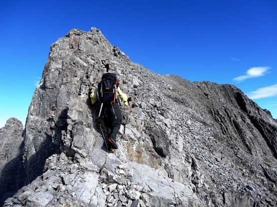 After the dip, I ascended the ridge towards the false summit. Photo by Doug Lutz